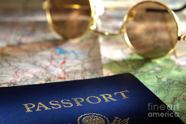 Photograph - Passport And Sunglasses Over Road Travel Map by Olivier Le Queinec