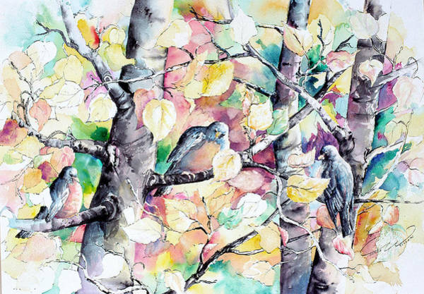 Pastel Aspen With Robins Art Print