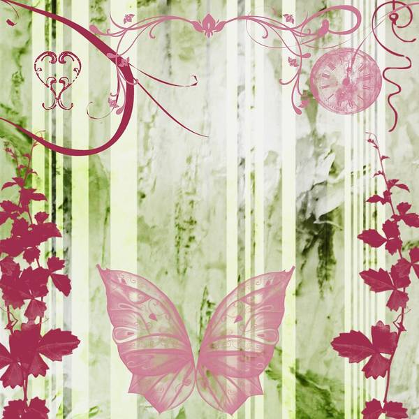 Drawing - Pastel Butterfly Floral by Shabby Chic Art