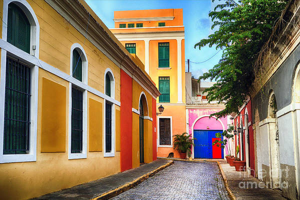 Wall Art - Photograph - Pastel Colored Street In Old San Juan, Puerto Rico by George Oze