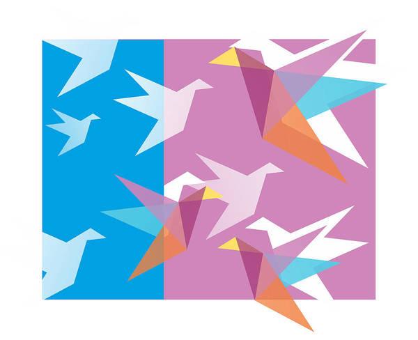 New Trend Digital Art - Pastel Paper Cranes by Julia Jasiczak