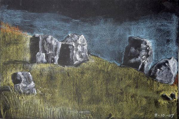 Pastel Stones On Black Art Print