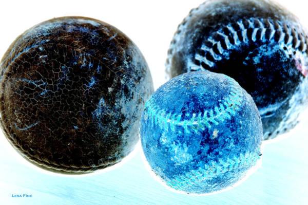 Mixed Media - Pastimes Baseball And Softballs Inverted by Lesa Fine