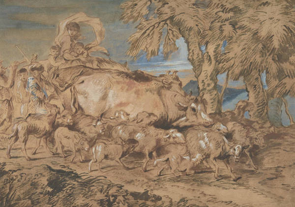 Nomad Drawing - Pastoral Scene - Nomads With Sheep And Cattle by Giovanni Benedetto Castiglione
