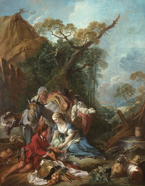 Francois Boucher Painting - Pastorale The Vegetable Vendor by Francois Boucher