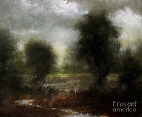 Linen Wall Art - Painting - Pasture Stream by Lawrence Preston