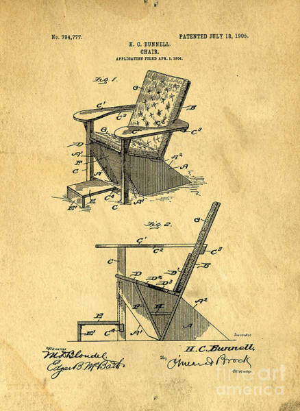 Chair Digital Art - Patent For The First Adirondack Chair 1905 by Edward Fielding