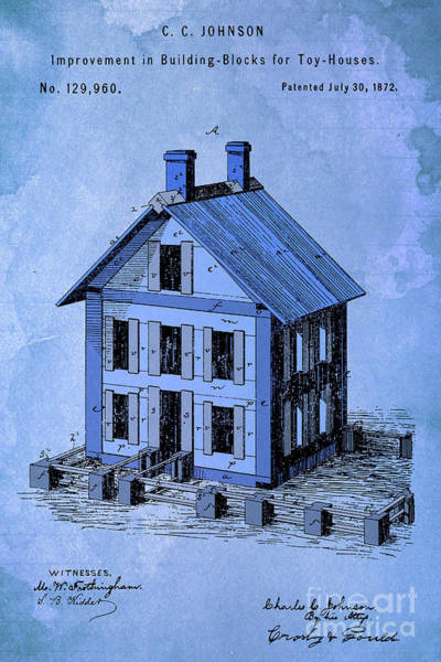 Wall Art - Digital Art - Patent, Improvement In Building Blocks For Toy Houses, Year 1872, Blue Art by Drawspots Illustrations