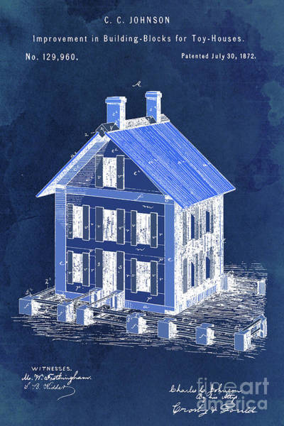 Wall Art - Digital Art - Patent, Improvement In Building Blocks For Toy Houses, Year 1872, Dark Blue Art by Drawspots Illustrations