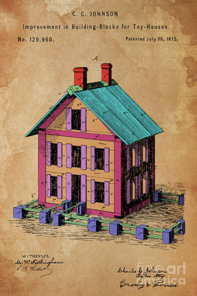 Wall Art - Digital Art - Patent, Improvement In Building Blocks For Toy Houses, Year 1872 by Drawspots Illustrations