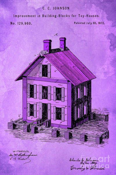 Wall Art - Digital Art - Patent, Improvement In Building Blocks For Toy Houses, Year 1872, Purple Art by Drawspots Illustrations