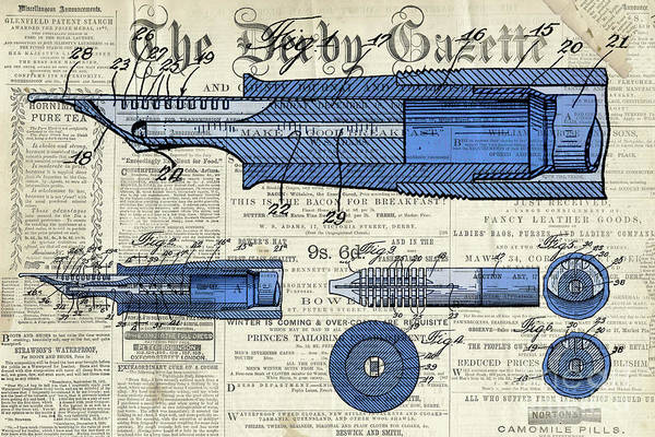 Wall Art - Digital Art - Patent, Old Pen Patent,blue Art Drawing On Vintage Newspaper by Drawspots Illustrations
