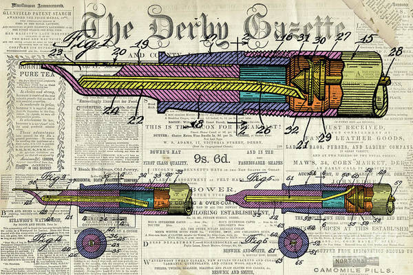 Wall Art - Digital Art - Patent, Old Pen Patent,colorful Art Drawing On Vintage Newspaper by Drawspots Illustrations