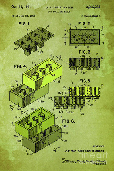 Wall Art - Digital Art - Patent, Vintage Old Toy Blocks, Home Decoration, Building Blocks by Drawspots Illustrations