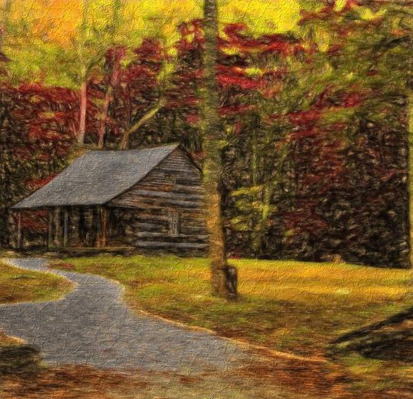 Cabin In The Woods Wall Art - Painting - Path To The Fall Cabin by Dan Sproul