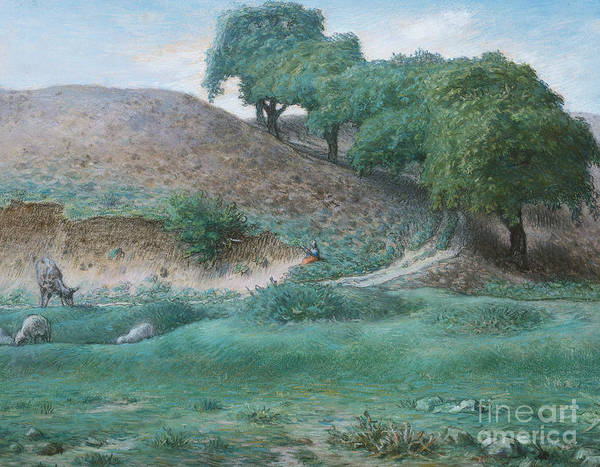 Wall Art - Pastel - Path With Chestnut Trees Near Cusset  by Jean Francois Millet