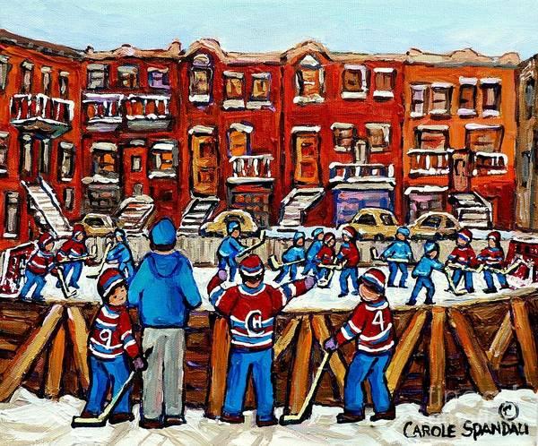 Painting - Patinoire De Hockey Dans La Ville Scenes De Rue De Montreal by Carole Spandau