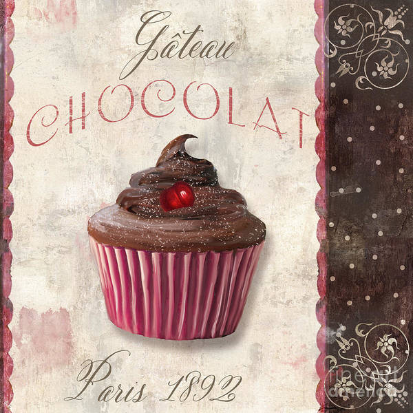 Pastries Painting - Patisserie Chocolate Cupcake by Mindy Sommers
