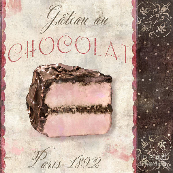 Cakes Painting - Patisserie Gateau Au Chocolat by Mindy Sommers