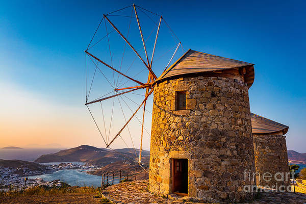 Aegean Sea Photograph - Patmos Windmills by Inge Johnsson