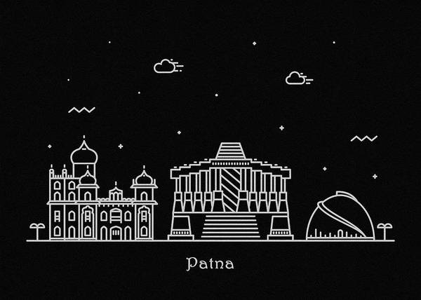 India Drawing - Patna Skyline Travel Poster by Inspirowl Design