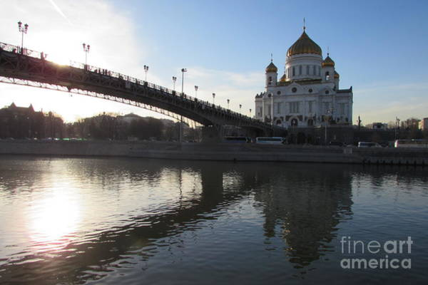Cathedral Of Christ The Savior Photograph - Patriarch Bridge In Moscow by Anna Yurasovsky