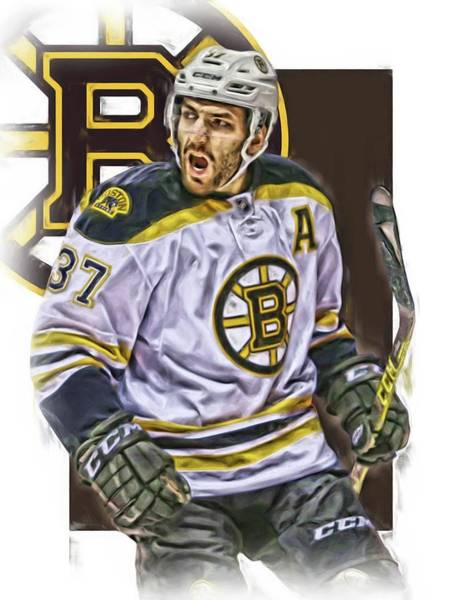 Wall Art - Mixed Media - Patrice Bergeron Boston Bruins Oil Art 1 by Joe Hamilton
