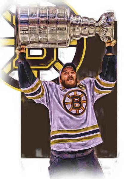 Wall Art - Mixed Media - Patrice Bergeron Boston Bruins Oil Art 3 by Joe Hamilton