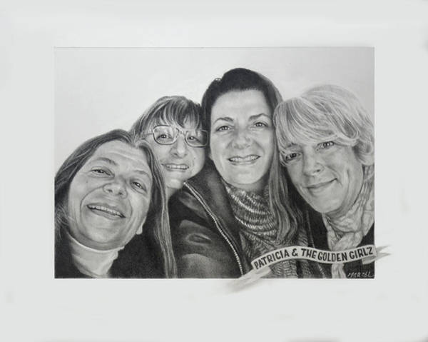 Wall Art - Drawing - Patricia And The Golden Girlz by Marcel Franquelin