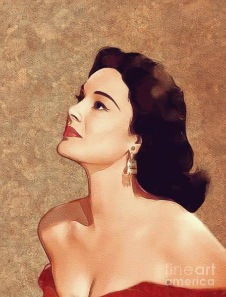 Medina Wall Art - Painting - Patricia Medina, Movie Legend by Mary Bassett