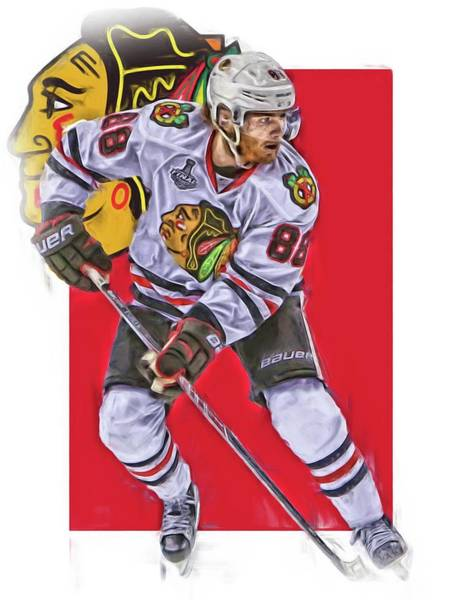 Wall Art - Mixed Media - Patrick Kane Chicago Blackhawks Oil Art Series 2 by Joe Hamilton