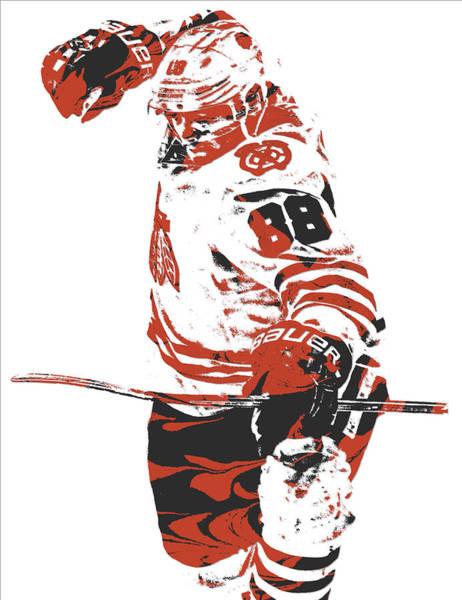Wall Art - Mixed Media - Patrick Kane Chicago Blackhawks Pixel Art 2 by Joe Hamilton