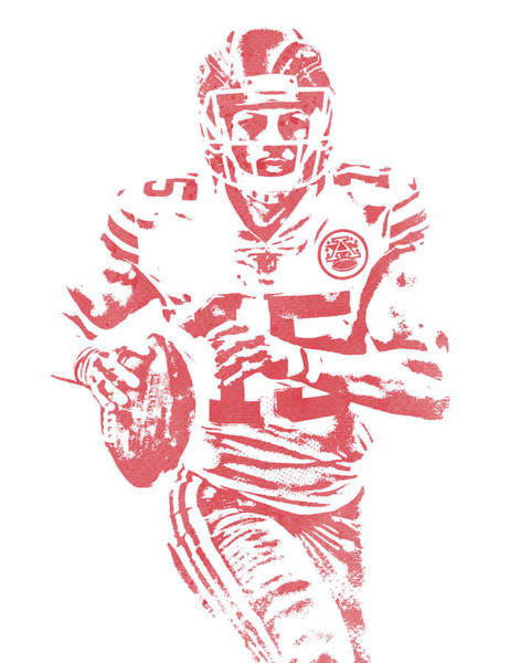 Wall Art - Mixed Media - Patrick Mahomes Kansas City Chiefs Water Color Art 11 by Joe Hamilton