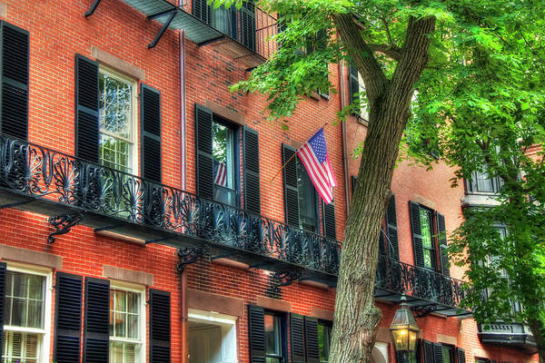 Photograph - Patriotic Beacon Hill Brownstones - Boston by Joann Vitali