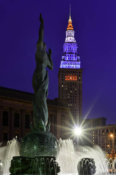 Photograph - Patriotic Cleveland Fountain  by Clint Buhler