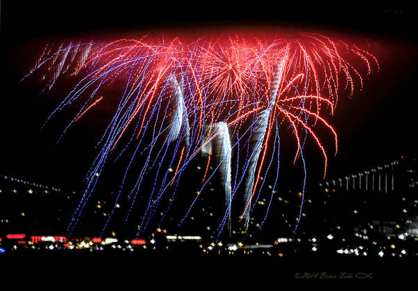 Photograph - Patriotic Fireworks S F Bay by Brian Tada