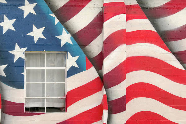 Capital Of Texas Wall Art - Photograph - Patriotic Flag Mural by Art Block Collections