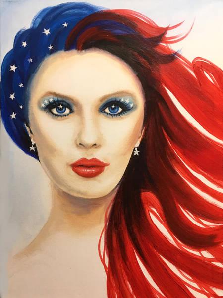 Wall Art - Painting - Patriotic Girl by Robert Korhonen