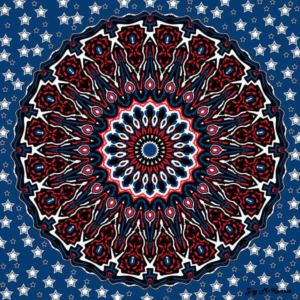 Psychedelia Digital Art - Patriotic Mandala by Joy McKenzie