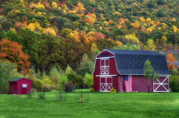 Wall Art - Photograph - Patriotic Red Barn by Mark Papke