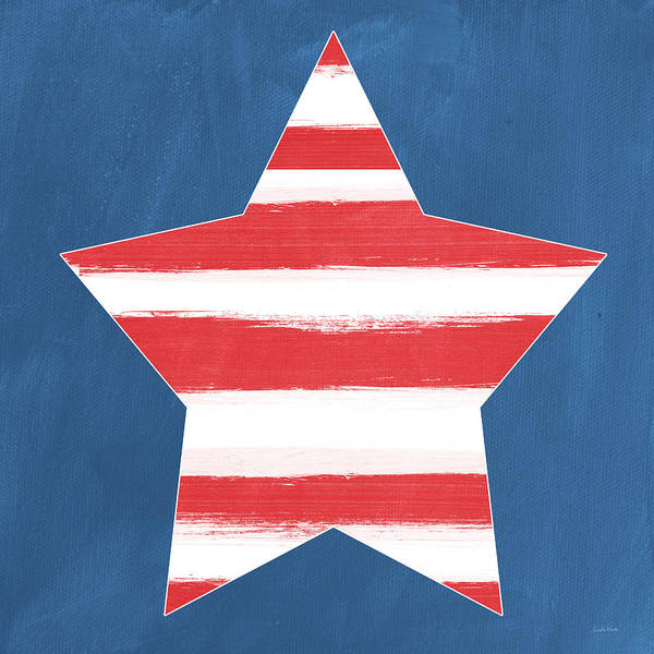 Flag Wall Art - Painting - Patriotic Star by Linda Woods