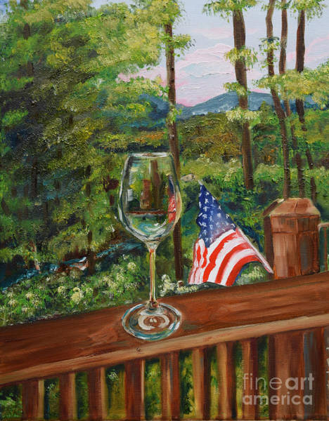 Painting - Star Spangled Wine - Fourth Of July - Blue Ridge Mountains by Jan Dappen