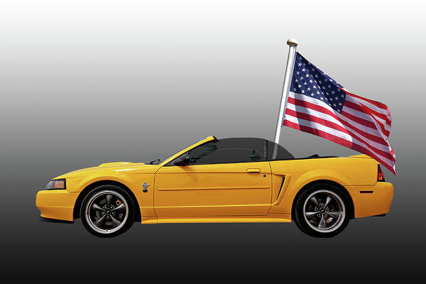 Photograph - Patriotic Yellow Mustang With Us Flag by Gill Billington