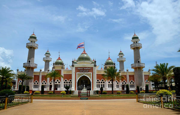 Photograph - Pattani Central Mosque With Pond Minarets And Thai Flag Thailand by Imran Ahmed