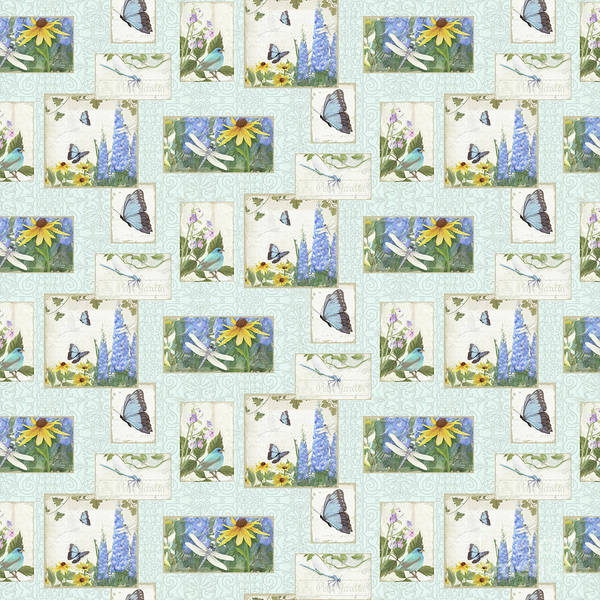 Wall Art - Painting - Pattern Butterflies Dragonflies Birds And Blue And Yellow Floral by Audrey Jeanne Roberts