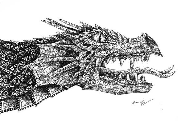 Drawing - Pattern Design Dragon by Aaron Spong
