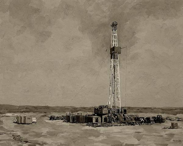Oil Well Painting - Patterson Rig 189  by Galen Cox