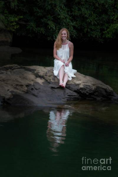 Photograph - Patty Sitting On Rock In Lake by Dan Friend