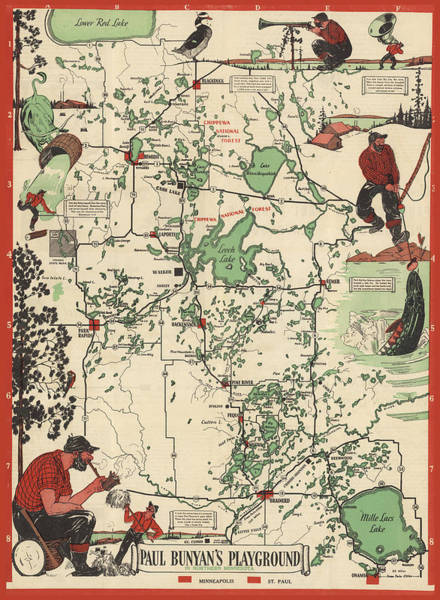 Wall Art - Mixed Media - Paul Bunyan's Playground - Northern Minnesota - Vintage Illustrated Map - Cartography by Studio Grafiikka