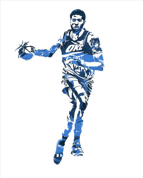Wall Art - Mixed Media - Paul George Oklahoma City Thunder Pixel Art 30 by Joe Hamilton